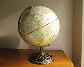 Vintage Replogle Globemaster 12 inch World Globe, Brass Toned Stand, Antique Color
