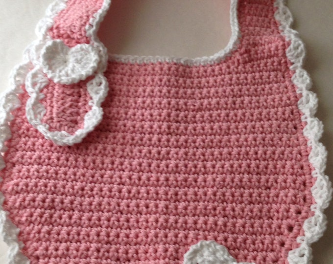 Bib - Pink and White - Crochet Bib - Toddler to Adult - Ready to Ship