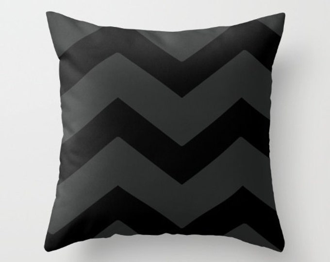 Chevron Pillow Cover - Cover Only - Black and Gray Large Chevrons - Throw Pillow - Sofa Pillow - Home Decor - Made to Order