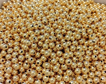 4mm Gold Filled Beads PACK OF 100pcs, 14kt Gold Filled 4mm Beads, 4mm Gold Filled Non Tarnish Beads, 1/20 14K Gold,4.0mm Bead 1.0mm Hole