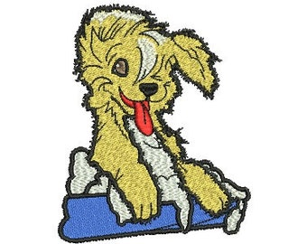 dog in tub embroidery design