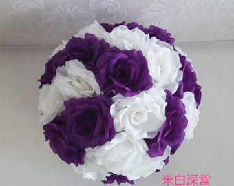 "Purple Ball Flower Silk Kissing Balls  Pomander 10"" For Wedding Flower Ball Centerpieces Bridal Shower Decoration"