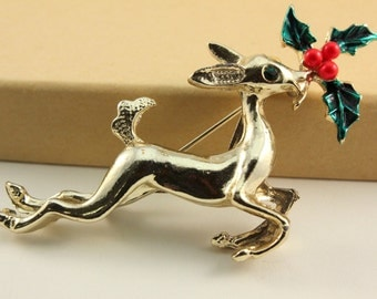 Vintage Reindeer and Holly Brooch (retro 50s 60s gold tone pin christmas holiday stocking stuffer rudolph present cute)