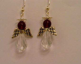 Red Angel Earrings, Red Angel & Crystal Earrings, Angel Earrings, Crystal Earrings, Crystal Angel Earrings
