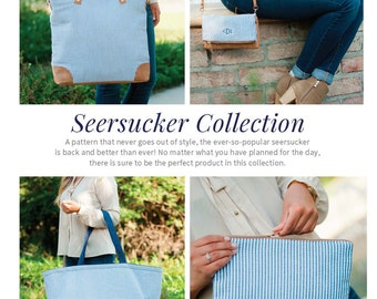 Navy Seersucker Collection. Ultimate Tote, Zip Pouch, Clutch Bag, Weekender, Crossbody, Shoulder Bag. Great Gift.  Free Monogram!