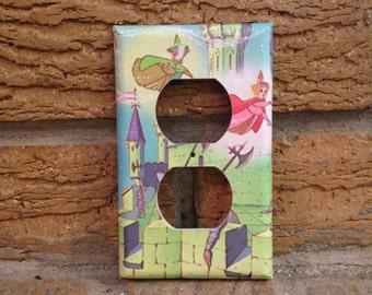 Sleeping Beauty Fairies Electrical Outlet Cover, Flora, Fauna, Merryweather, Sleeping Beauty Decor, Sleeping Beauty Nursery, Gift, Baby, SB4