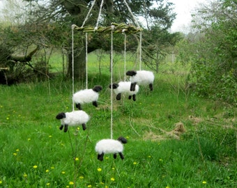 Sheep Mobile, 5 Hand Felted Sheep Baby Mobile, Farm Animal Nursery Decoration, Lamb mobile