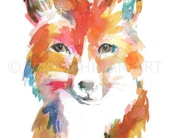 Fox Watercolor Painting Print, Fox Painting, Fox Illustration, Nursery Art, Woodland Art, Animal Painting, Animal Watercolor, Print of Fox