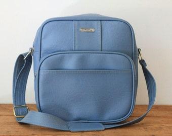 SAMSONITE Blue Flight Bag/ Sky Blue Samsonite Carry On Suitcase Luggage/ Soft Side Overnite Weekender Travel Bag