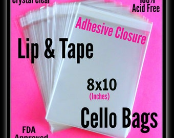 100 ( 8x10 ) Lip & Tape Cello Bags ..   Clear Bags, Self Sealing, Cello Bags, Adhesive Cello Bags, 8x10 Adhesive Sleeves
