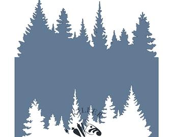 """Tree Line 5.5"""" x 5.5"""" Stencil"""