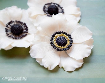 Hair clip and Brooch Anemone White - Polymer Clay Flowers - Wedding Accessories