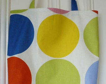 Shopping bag - big circles print, yellow lining