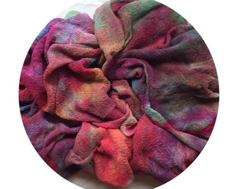 Ice dyed cotton scrim in muted colours for mixed media and textile art, nunofelting, and scarves.