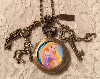 "Vintage Style, Charm, Pocket Watch  Necklace With Rapunzel from ""Tangled"".  In Antique Bronze Tone."