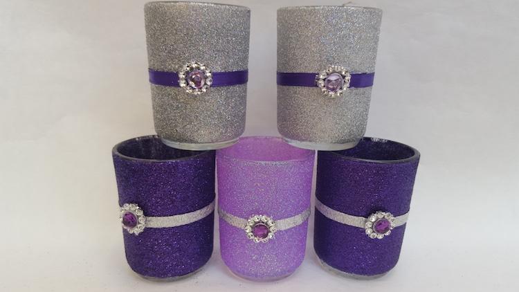 Glitter Votive Holders Wedding Candle By Juliescottagecrafts
