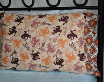 Handmade standard sz pillowcase Flannel Cowboy Rodeo Western Horse