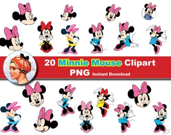 20x Minnie Mouse Clipart -PNG and JPEG  Digital Clipart - Disney clip art Instant Download (No. 26)