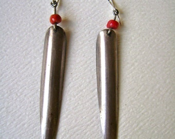 vintage long silver and coral earrings