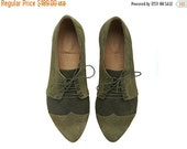 WINTER SALE Olive oxford shoes, Polly Jean, handmade, Green flats, leather shoes, by Tamar Shalem on etsy