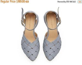 SUMMER SALE Sophie,  light Blue Sandals, Leather Sandals, handmade, flats, leather shoes, by Tamar Shalem