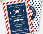 Baseball Invitation, Little Slugger Baby Shower Invitation, Baseball Baby Shower, Couples Baby Shower, Red and Navy, Sports Baby Shower, #S1
