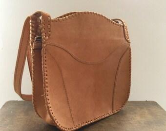 Soviet Vintage leather bag Brown leather handbag Handmade leather shoulder bag USSR era leather bag