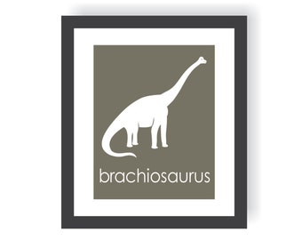 Dinosaur Nursery Art - Brachiosaurus - Kids Dinosaur Art, Boy Room Decor, Dinosaur Room, Little Boys Wall Art, Kids Wall art, Art For Boys