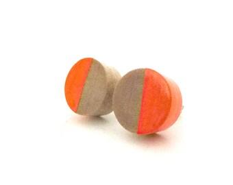 Neon orange post earrings, wood circle earrings, stud earrings