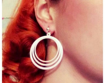 1950s Vintage style pastel shade plastic hooped earring 3 colours, pink, blue, yellow
