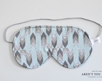 Eye Mask, Sleep Mask, Travel Mask, Handmade Cotton Modern News Print Pattern Mask by Aren't You Fancy