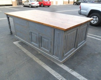 Kitchen Island custom made from reclaimed wood in the USA