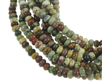 "Ocean Jasper 5x8mm Rondell Gemstone Beads - Full 16"" Strand - About 80 Beads - Natural Stones"