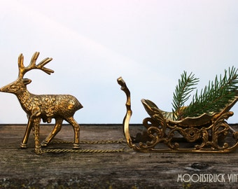 Vintage Solid Brass Reindeer and Sleigh Christmas Decor