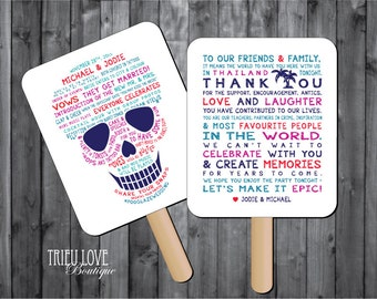 Personalized Sugar Skull| Day of the Dead | Skeleton | Tropical Custom Wedding Ceremony Program Fan - Digital File