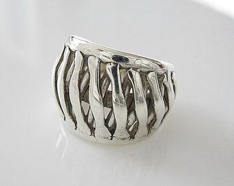 Modernist Berntsen Hughes Sterling Silver Ring - Norway E&P Studio - Else Berntsen Paul Hughes - Vintage Jewelry