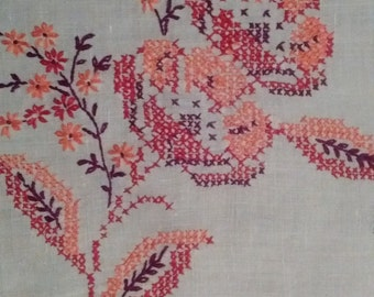 Hand embroidered vintage furniture scarf.