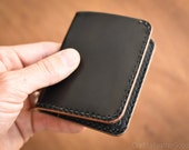 6 Pocket Horizontal wallet, hand stitched, Horween shell cordovan + chromexcel - black