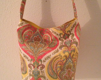 Gorgeous Tote with Strap,Pocket  ( Paisley Floral Design )