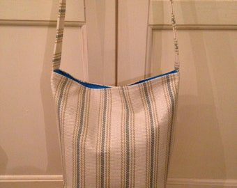 Gorgeous Tote with Strap,Pocket  ( Beige Stripe Design )