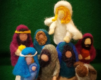 Christmas Nativity, Felted Finger Puppets,