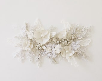 Bespoke ivory and white beaded lace with handmade headpiece hair comb with floral detail.