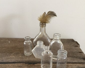 Bottles old vintage small miniature set of 6 clear glass rustic home decor