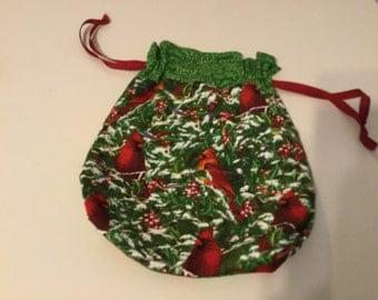Drawstring  Lined purse Cardinal Bird Fabric