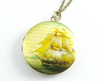 Pirate Sailing Ship Locket Necklace, Vintage Locket Necklace, Ship Lovers Locket, Sailor's Locket Key Chain, Graduation Gift