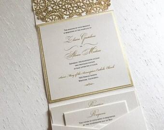 Gold Laser Cut Invitation // Gold Foil Wedding Invitation // Gold Doily