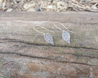 Sage leaf textured earrings, Fine silver earrings, Small silver earrings, Silver sage earrings, small leaf earrings, Small dangle earrings
