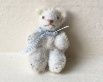 Miniature White Teddy Bear with Light Blue Ribbon (JL)