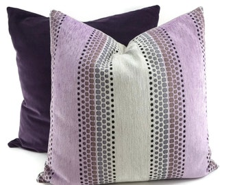 Purple & Gray Chenille Throw Pillow Cover, Mid-Century Modern Throw Pillow, Lavender, Gray Geometric Pillow Cover