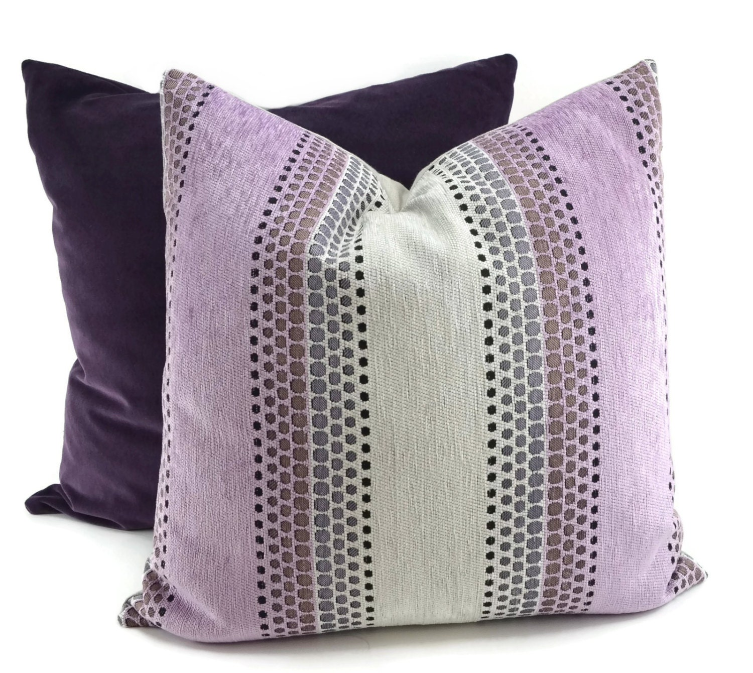 Chenille Throw Pillow Covers : Purple & Gray Chenille Throw Pillow Cover Mid-Century Modern